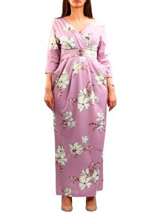 فستان مشجر ماكسي بف على الجوانب بلون زهري