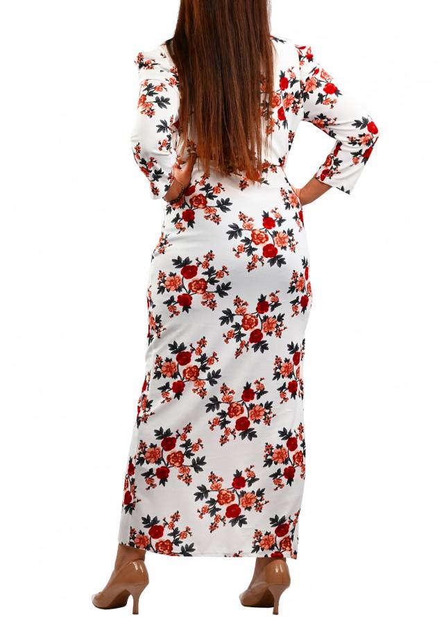 فستان مشجر لف بلون ابيض