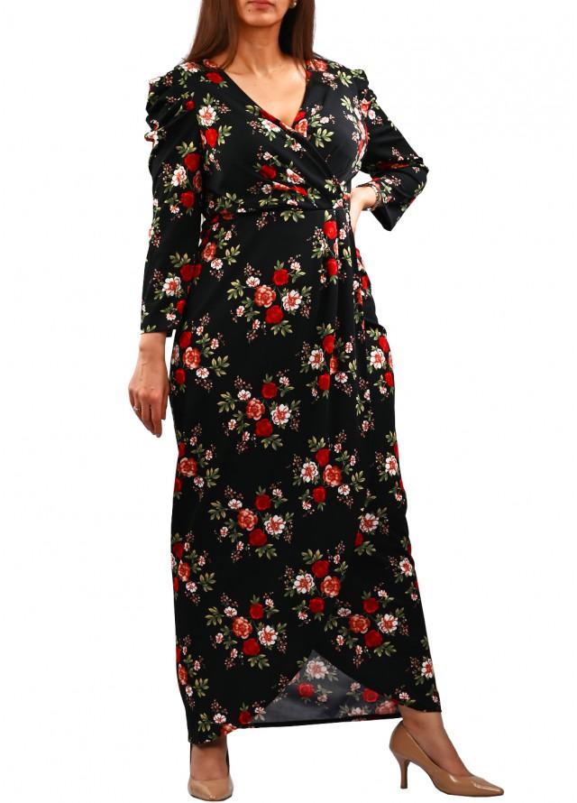 فستان مشجر لف بلون اسود