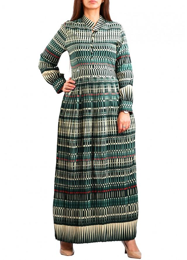 فستان ماكسي برقبة مغلقة بلون اخضر