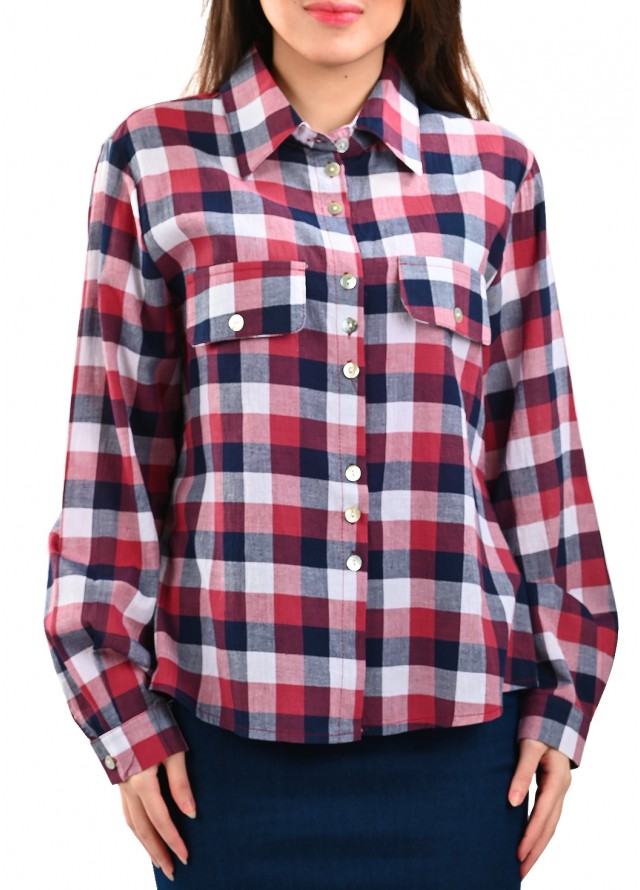 قميص كاروهات بيسك بلون احمر