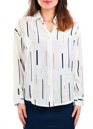 قميص بخطوط متقطعه بلون كحلي