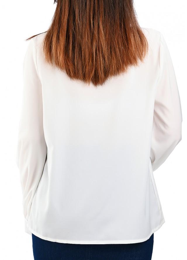 قميص ساده ربطة أورقنزا وبروش لولو بلون أبيض
