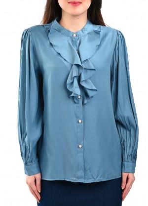 قميص رسمي بكشكش أمامي بلون أزرق