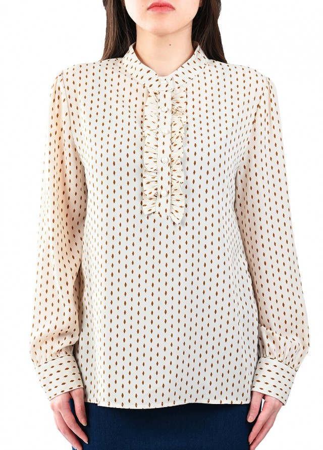 قميص رسمي حرير منقط بلون بيج