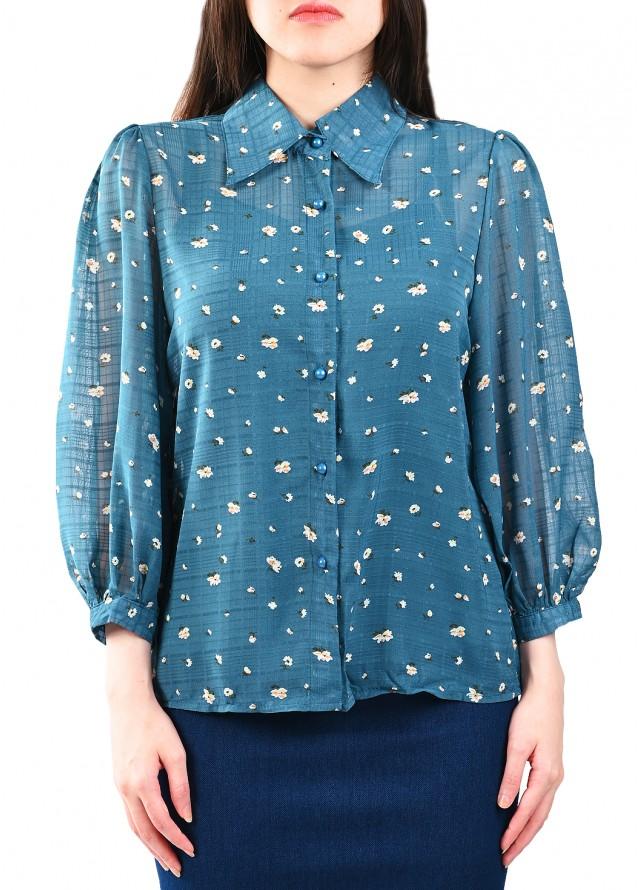 قميص مشجر خامة صيفية بلون ازرق