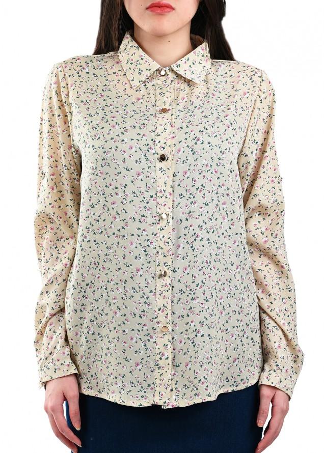 قميص حرير بألوان باستيل مشرقة بلون بيج
