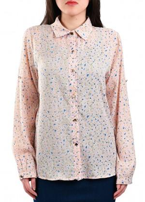 قميص حرير بألوان باستيل مشرقة بلون زهري
