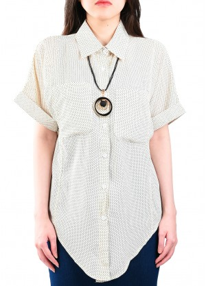 قميص صيفي أكمام قصيرة بلون ابيض