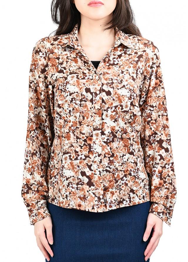قميص مورد بزهور الربيع بلون بني