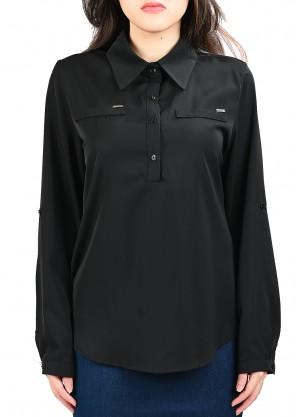 قميص رسمي رسمة جيوب امامية بلون اسود
