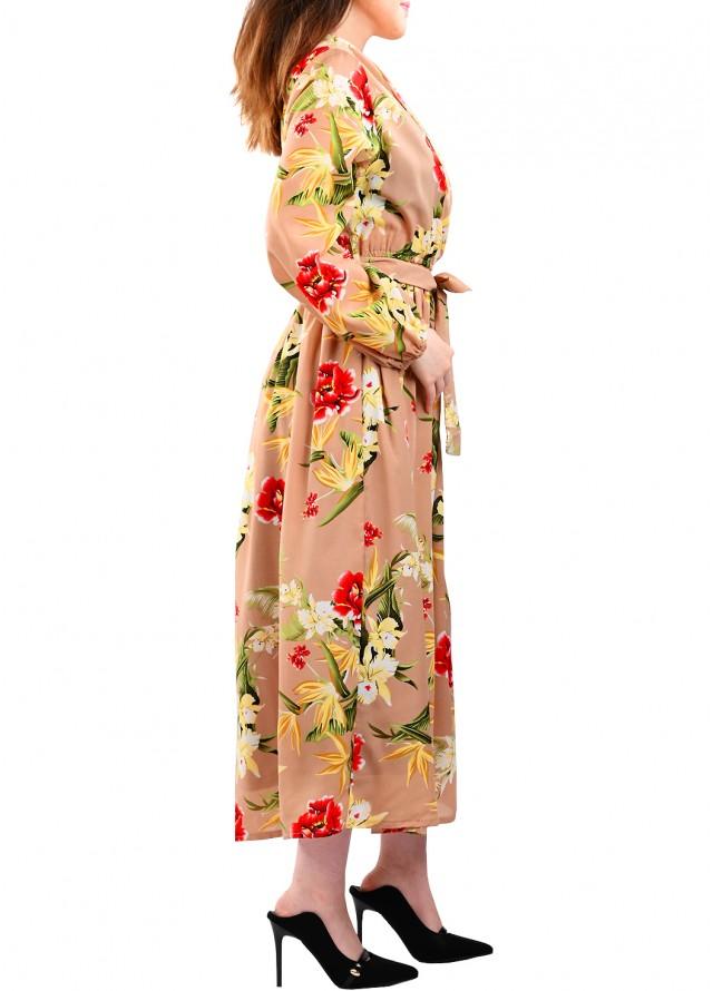 فستان مشجر ياقة لف بلون بيج