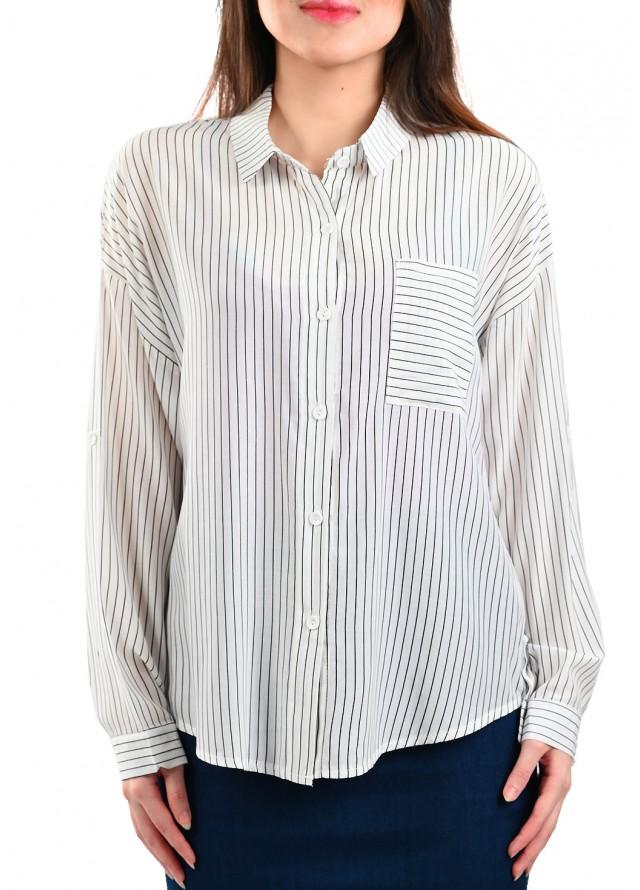 قميص مقلم بيسك بخطوط بلون اسود