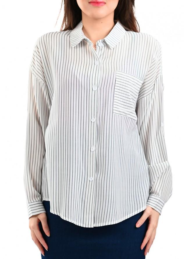قميص مقلم بيسك بخطوط بلون كحلي